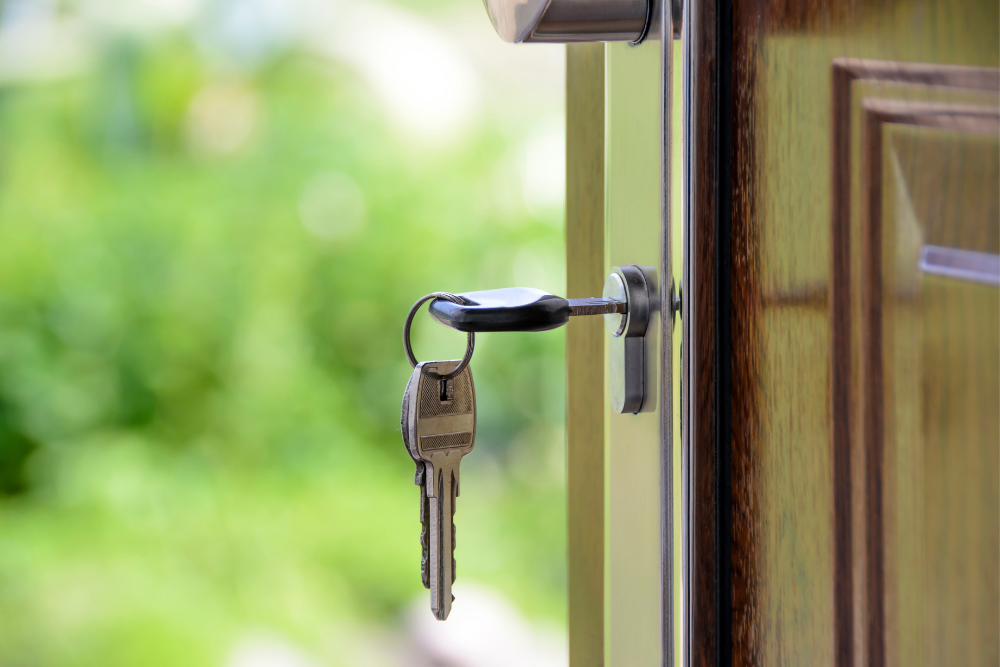 a set of keys in an open door with the background blurred