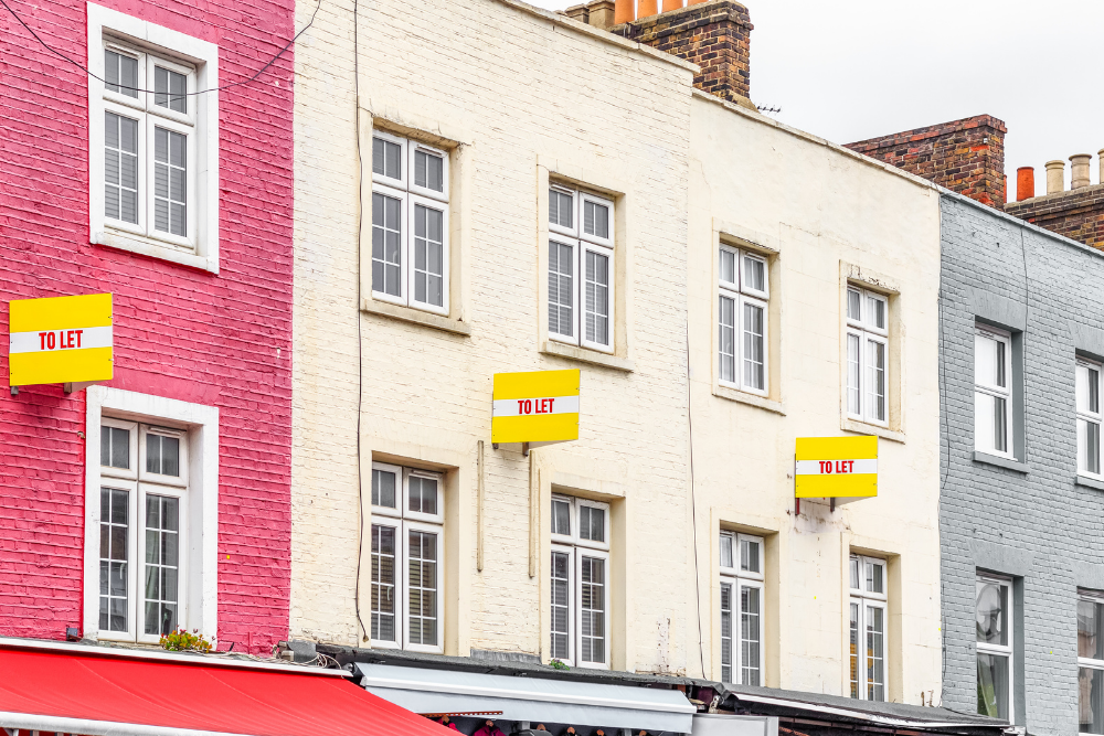 three terraced properties with to let signs outside